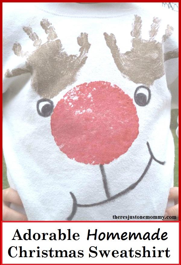 Homemade Christmas Sweatshirt -- adorable handprint reindeer Christmas shirt