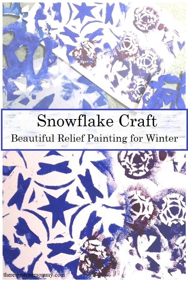 kids snowflake craft with relief painting