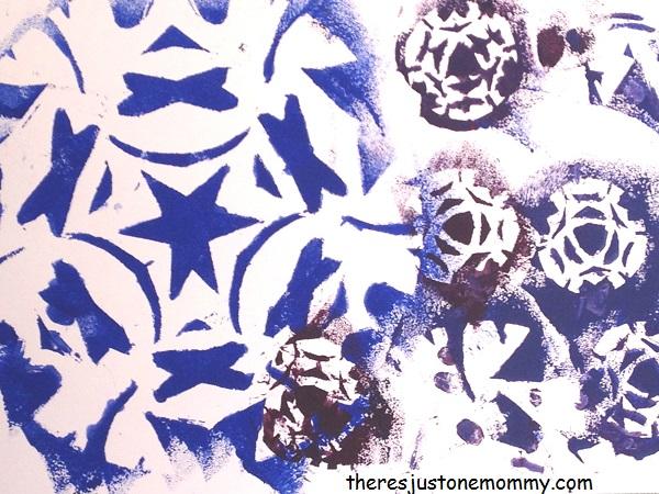 sponge painted snowflakes