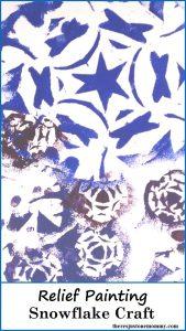 Snowflake Craft -- simple relief painting - sponge painting- kids craft
