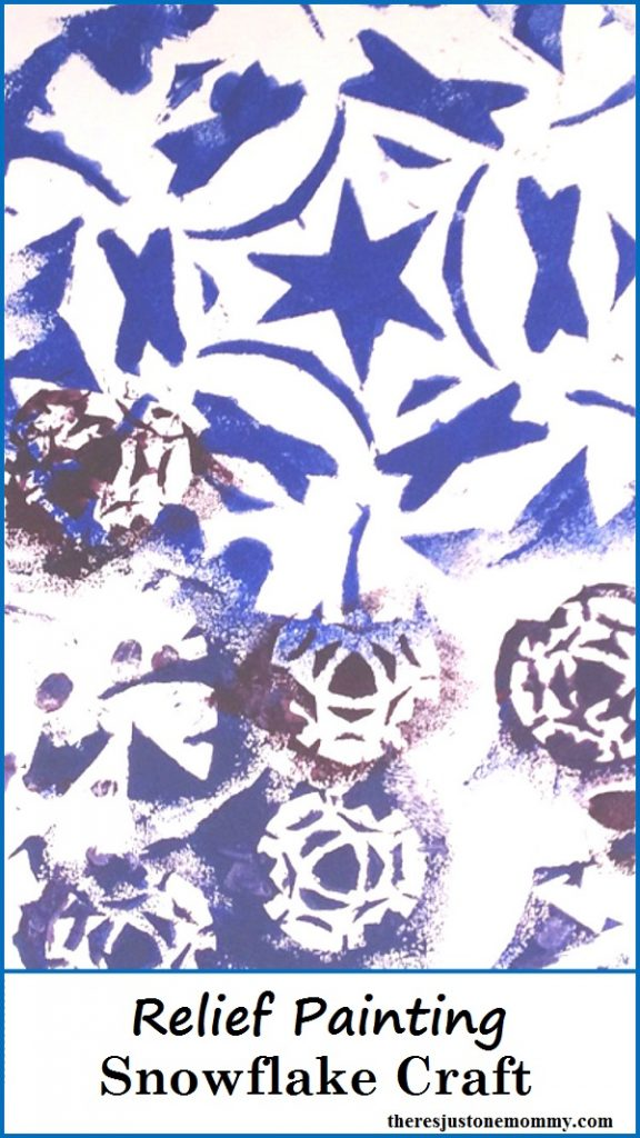 Snowflake Craft -- simple relief painting - sponge painting- kids craft