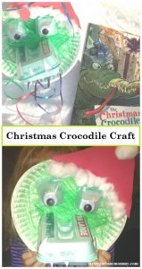 kids Christmas craft -- make a Christmas crocodile; perfect book craft for The Christmas Crocodile