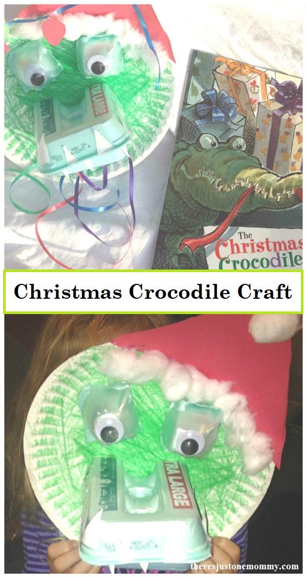 kids Christmas craft -- make a Christmas crocodile; perfect book craft for The Christmas Crocodile