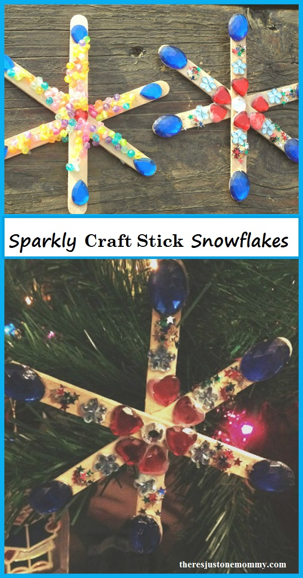 sparkly craft stick snowflakes -- simple winter craft for kids; make snowflake magnets or snowflake ornaments