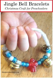 make a jingle bell bracelet -- preschool Christmas craft idea