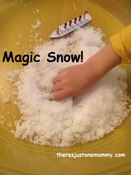 instant snow from a powder:  fun sensory play