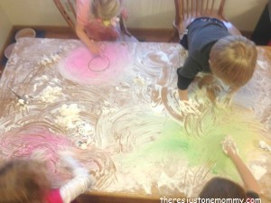 colored shaving cream sensory play