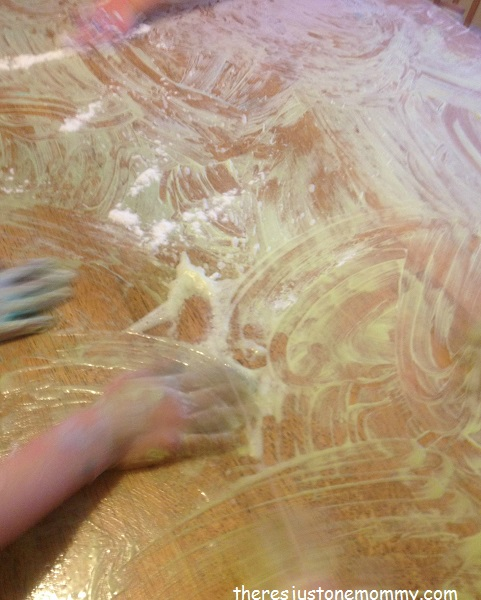 shaving cream plat at the table