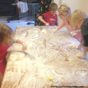 group sensory play with shaving cream