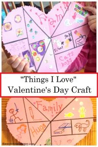 Things I Love craft -- fun heart shaped collage craft for kids