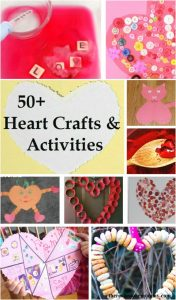 heart crafts & heart activities -- over 50 fun kids heart crafts and activities, kids Valentine's Day crafts