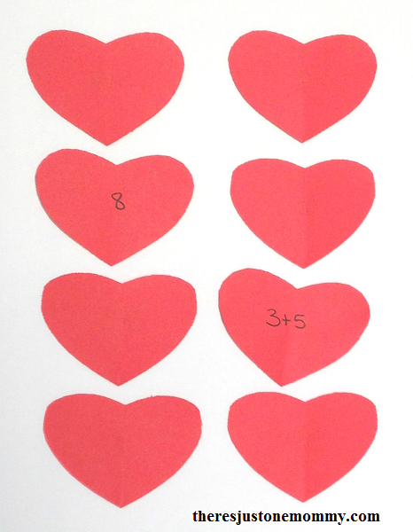 matching hearts math game