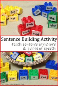 lego blocks being used to teach sentence structure