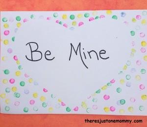 eraser-stamped Valentine's Day card