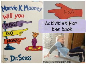 activities to go with Dr. Seuss book Marvin K. Mooney Will You Please Go Now