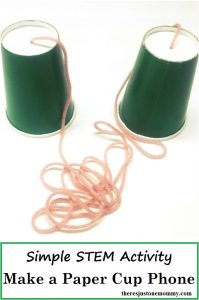 how to make a paper cup phone: simple STEM activity, make a paper cup and string phone