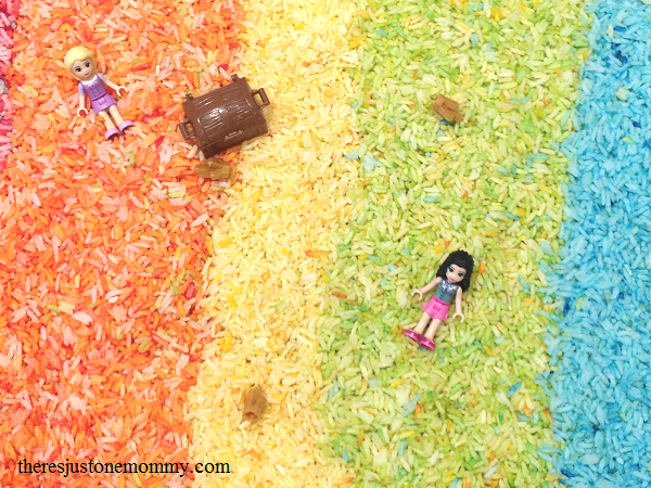 rainbow rice sensory play