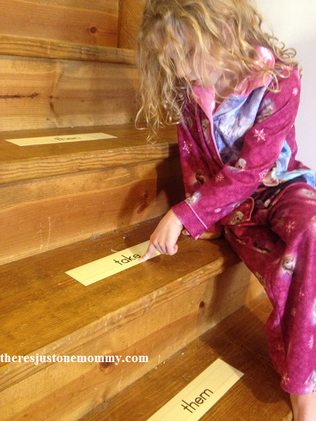sight word practice at home using the stairs
