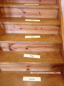 fun sight word game -- reading sight words on stairs