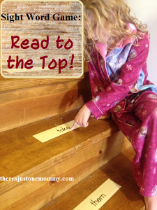 Simple sight word game: Read the words to the top of the stairs
