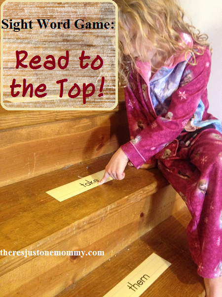 Simple sight word practice at home: Read the words to the top of the stairs