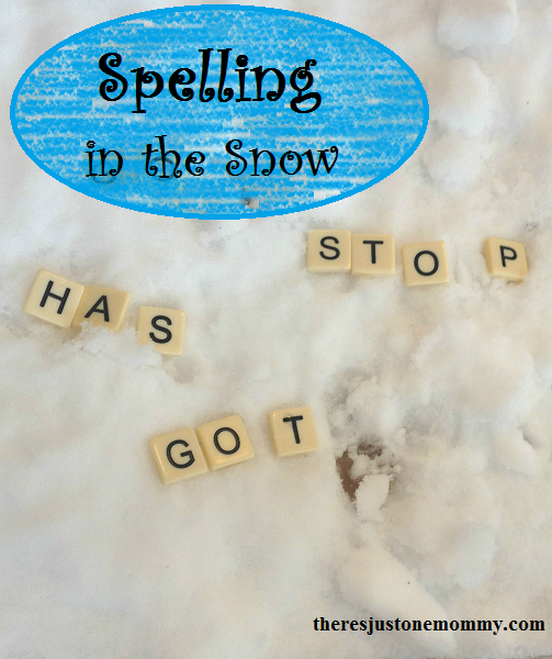 practicing spelling words in the snow