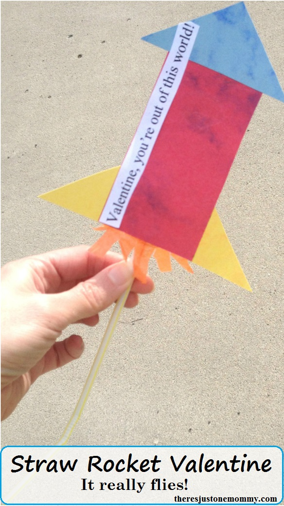 kids homemade Valentine -- make a straw rocket Valentine that really flies!