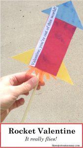 Homemade Valentine for Boys -- Make this straw rocket Valentine that really flies!