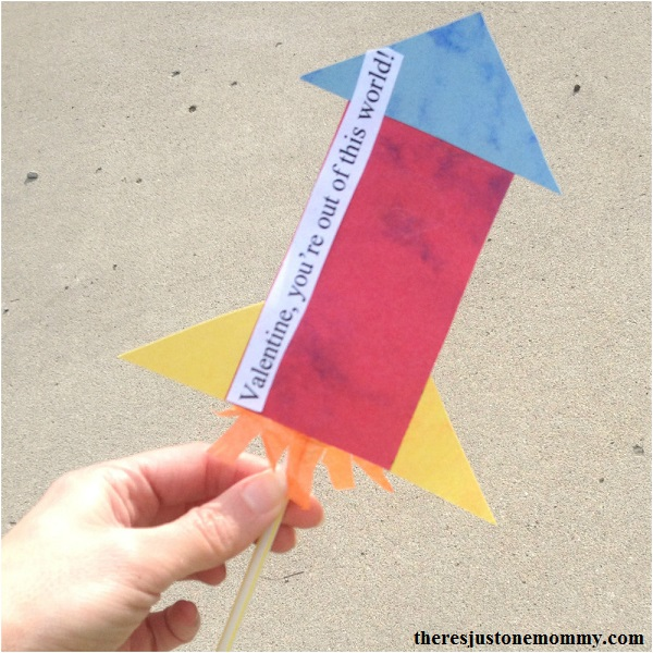 homemade rocket Valentine -- kids homemade Valentine that really flies