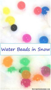 kids snow activity: winter sensory activity using water beads in snow; fun way to avoid cabin fever
