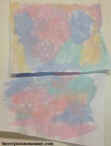 crayon resist painting Easter egg hunt