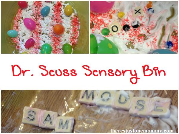Dr. Seuss inspired sensory bin