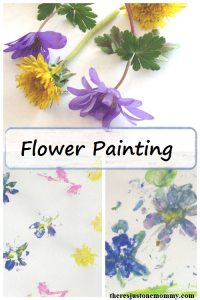 Painting with Flowers -- simple spring process art for kids