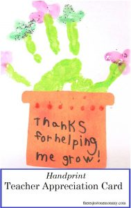 homemade teacher appreciation card -- simple handprint t;hank you card for a teacher