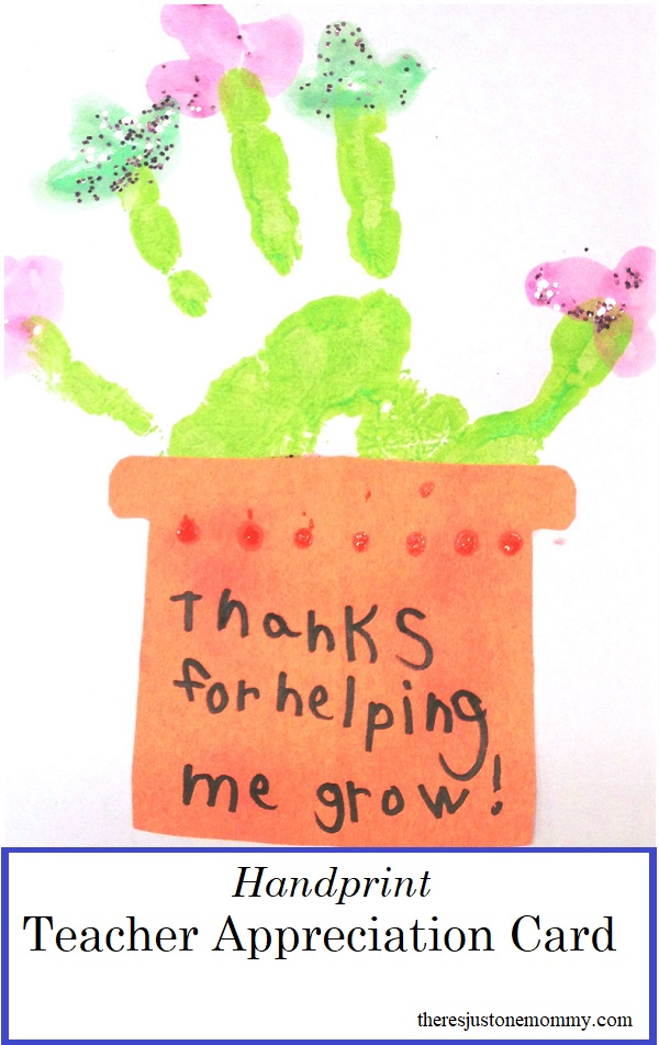 homemade teacher appreciation card -- simple handprint thank you card for a teacher