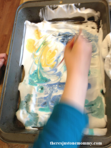 shaving cream marbled paper