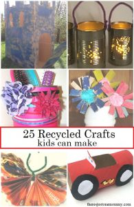 Looking for a fun kids craft from recyclables? These 25+ recycled crafts would be perfect for Earth Day or any time of year.