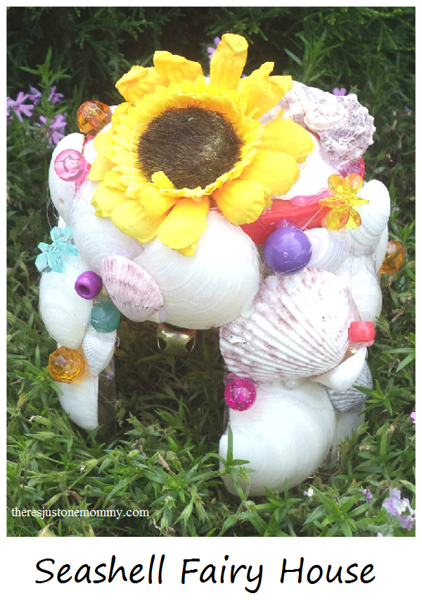 garden fairy house made of seashells