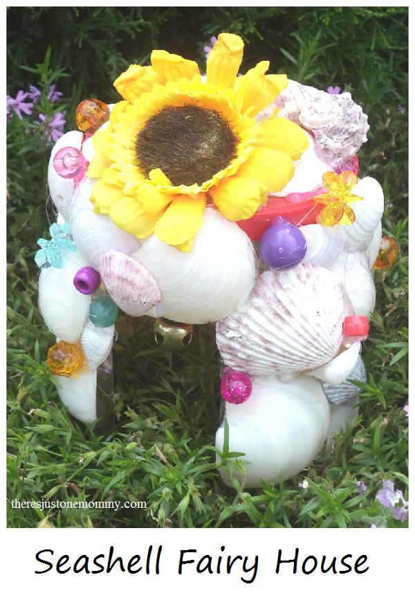 garden fairy house made of seashells