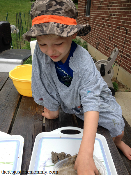 messy play with natural clay