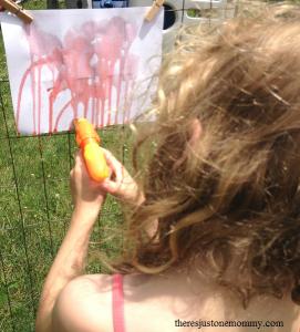 summer art idea -- squirt gun painting