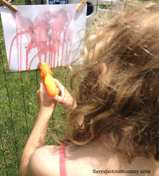 summer art idea -- squirt gun painting