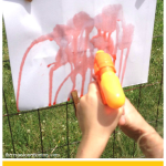 camp craft idea: Squirt Gun Painting -- fun summer activity for kids