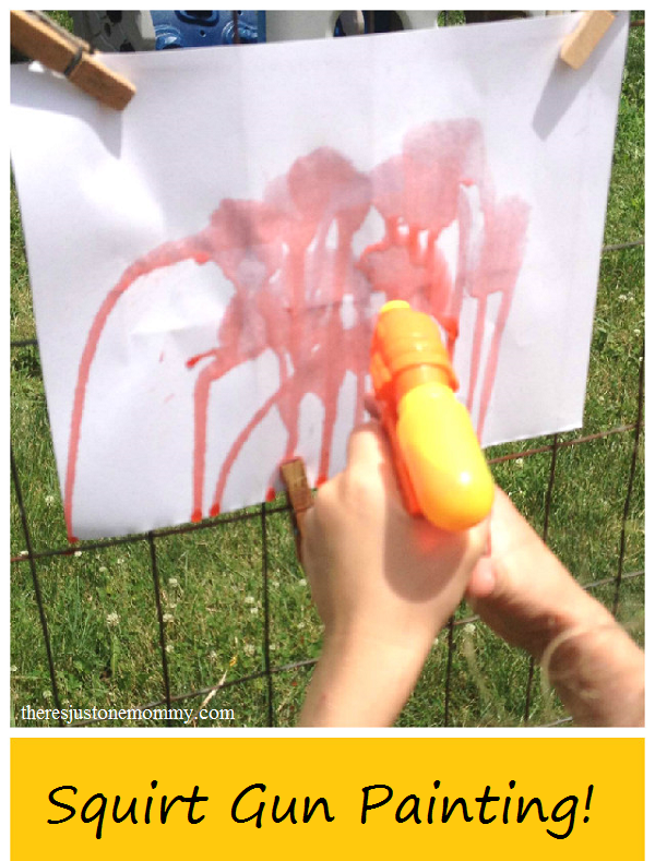 Squirt Gun Painting -- fun summer activity for kids