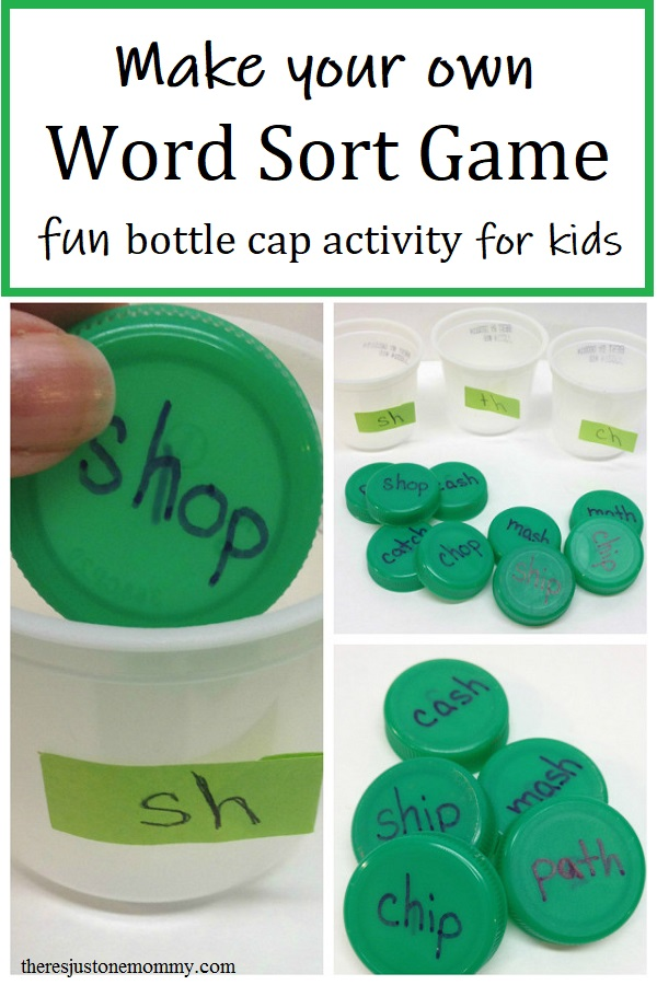 Bottle Cap Word Sort Game | There's Just One Mommy