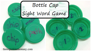 simple sight word game made with plastic bottle caps