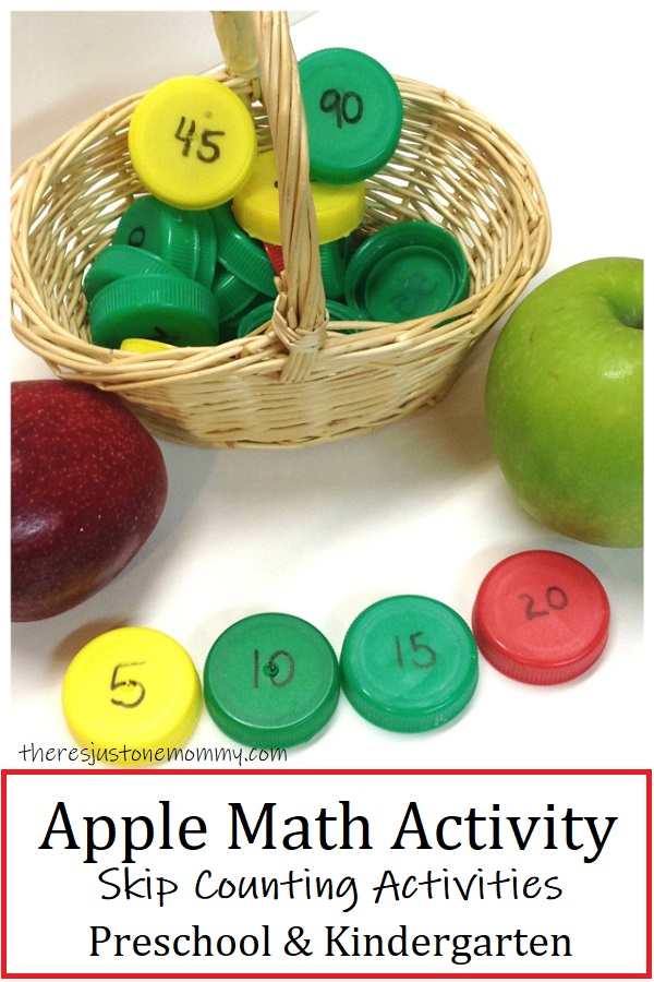 apple themed math manipulatives for skip counting