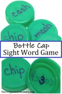 plastic bottle cap sight word game for kids