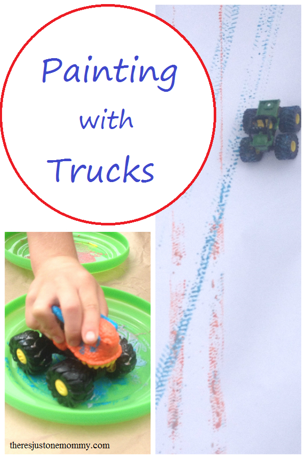Super fun art activity -- painting with toy cars and trucks