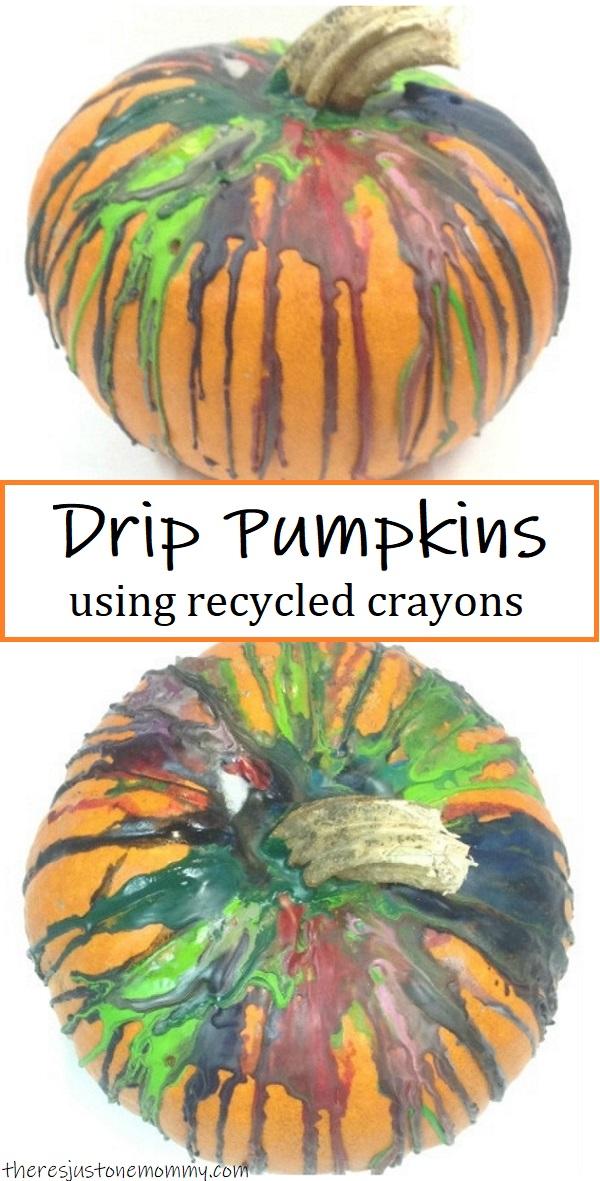 how to make crayon drip pumpkins